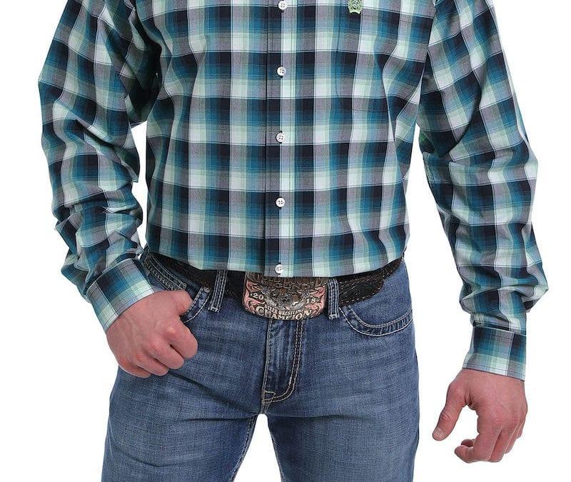 Cinch® Turquoise, Black, Light Green Plaid Long Sleeve Shirt