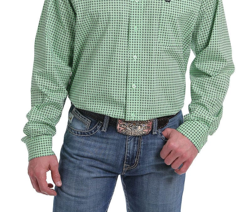 Cinch® Lime Green with Black and White Box Pattern