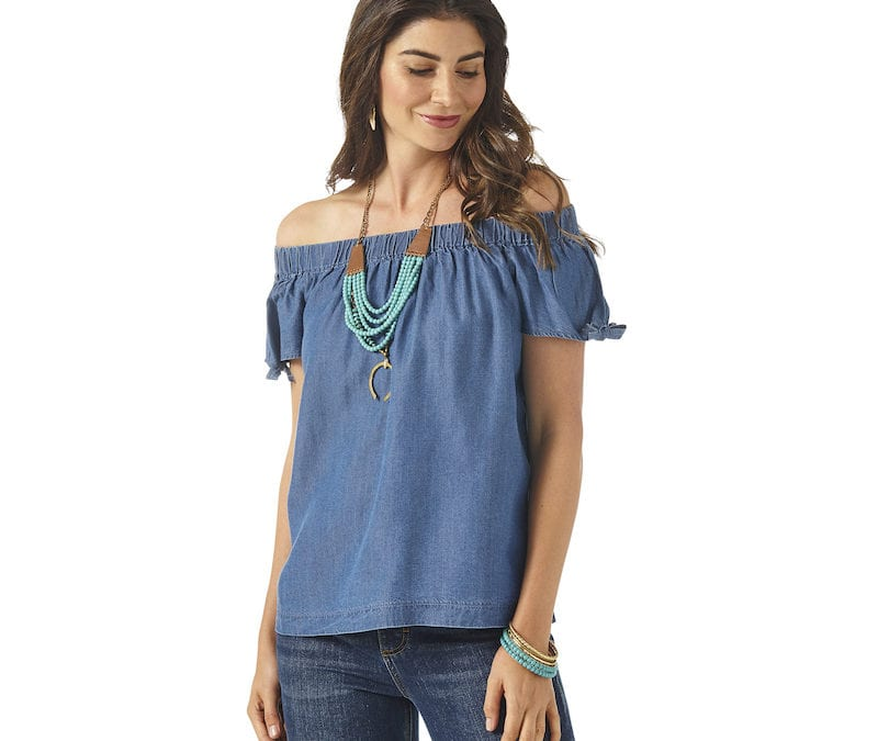 Wrangler® Retro Chambray Off the Shoulder Top