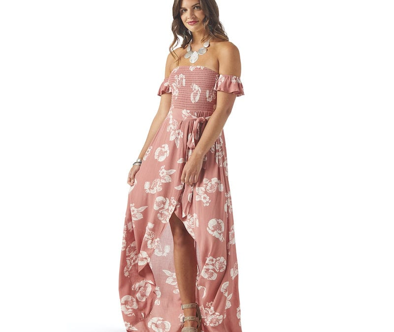 Wrangler® Pink Floral High Slit Maxi Dress