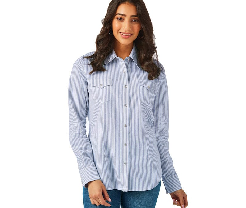 Wrangler® Blue and White Long Sleeve Striped Shirt