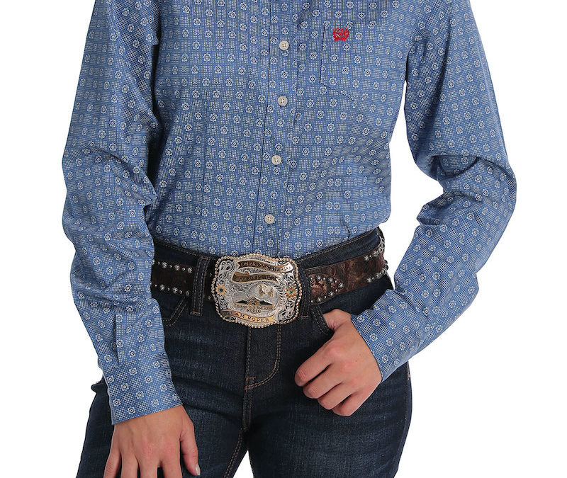 Cinch® Blue with Dot and Flower All Over Print Long Sleeve Shirt