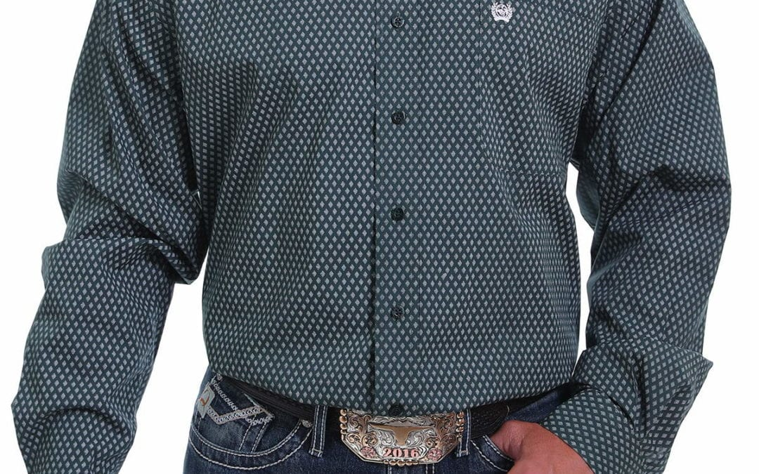 Cinch® Forest Green with Spotted Diamond Print Shirt