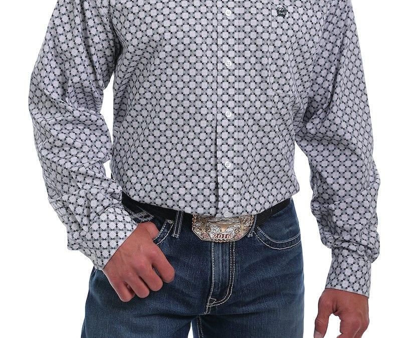 Cinch® White, Black and Green Square Geometric Print Shirt