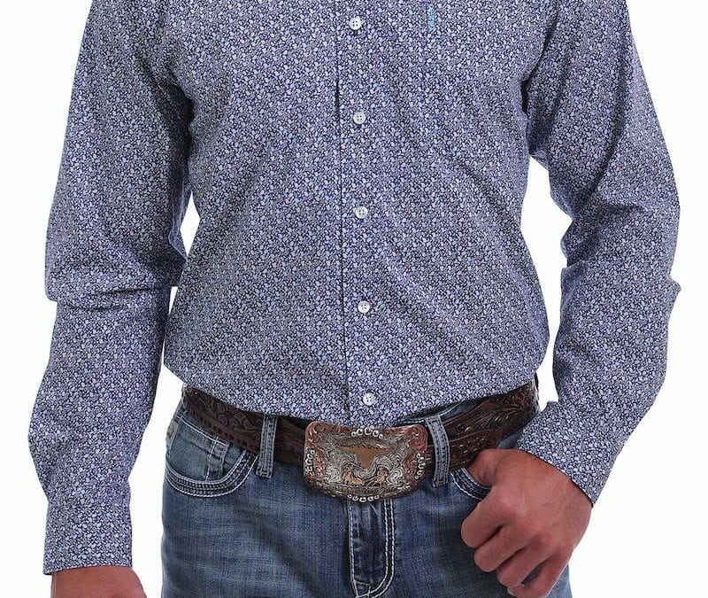 Cinch® Blue, Gray and White Paisley Print Modern Fit Shirt
